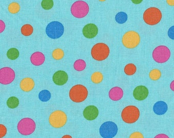 RJR Quilt Fabric - Crazy for Dots and Stripes Series - Multi Dots Blue Background - By the Yard