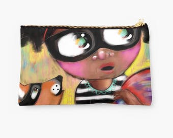 Pouches - Back to School - Studio Pouch - Whimsical Art Purse - Make up bag - Pencil Case - HyssopArts - Artwork Designed by Beatrice Ajayi