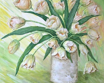 Rustic 3D Tulips in Vase 20x16 Inch Canvas Acrylic Painting