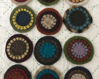Penny Circles, 100% Felted Wool, Embroidered, Ready to use, Penny Rugs, Set of 12, Primitive Craft Supply, Paperclip Art