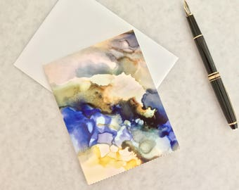 Note card. Art card. Greeting card. Print of original alcohol ink art. Galaxy II.