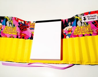 BatGirl themed crayon roll with Doodle pad