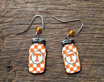 Tennessee Volunteers mason jar earrings: UT Vols checkerboard earrings, UT mason jar jewelry, Volunteers mason jar, Tennessee earrings, UT