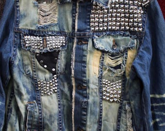 Hand studded and spiked , hand painted , distressed heavy metal punk denim battle jacket