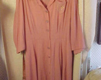 "Vintage 1930s Rose Pink  Button Down Front Dress, Plus Size  54"" Bust, #2262"