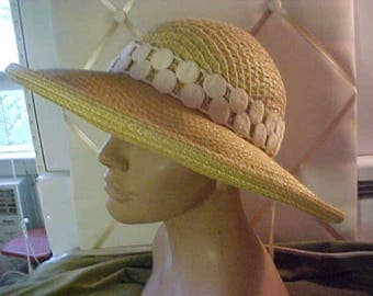 Vintage Adolfo II Wide Brim Natural Straw Hat with Wonderful White Band  #3036