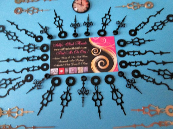 16 Pairs of Assorted Vintage Steel Serpentine Style + 7 Small Hour Clock Hands for your Clock Projects  - Jewelry Making - Steampunk Art
