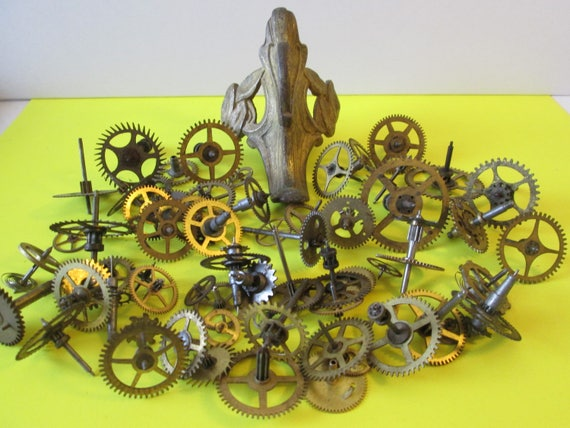 60 Antique Clock Wheels and Gears and 1 Large  Cast Clock Foot for your Clock Projects - Steampunk Art - Jewelry Making