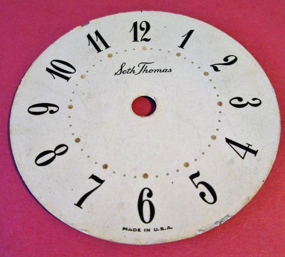 "Vintage Paper on Steel Backing 3 1/4"" Seth Thomas Clock Dial for your Clock Projects, Steampunk Art & Etc.."