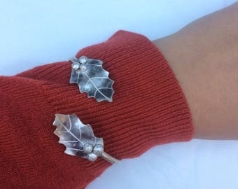 Holly bangle made from recycled sterling silver