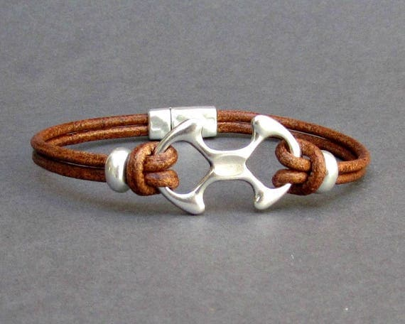 Bracelet For Men Leather Bracelet, Gift For Him Antique Silver Plated, Customized On Your Wrist