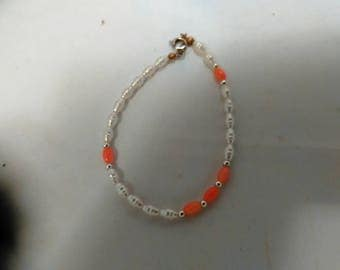 Vintage Collection - Mother Pearl and Coral Stone Bracelet