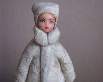 Rare Vintage Antique Christmas cotton figure of Snegurochka (Snow-Maiden)  -  Christmas Decoration - Soviet Vintage