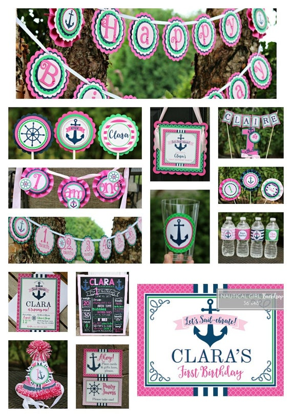 Nautical birthday decorations girl nautical party for 1st birthday decoration packages