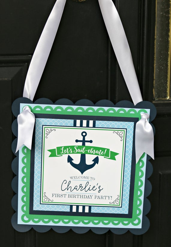 Nautical birthday decorations nautical welcome sign door for Anchor decoration party