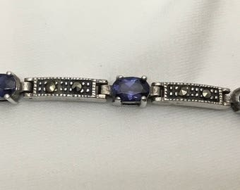 Sterling silver Tanzanite and marcasite bracelet