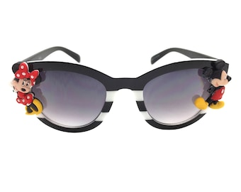 Women's Black and White Stripe Disney Cat Eye Sunglasses with Hand-Applied Mickey Mouse and Minnie Mouse Embellishments UV 400 Protection
