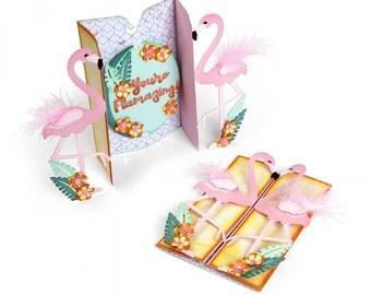 New! Sizzix Thinlits Die Set 12PK - Card, Flamingo Fold-a-Long by Jen Long 662726