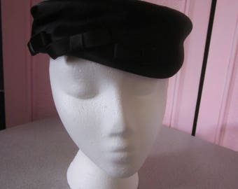 "1960s Black Silk Pillbox Style Hat with Bows by ""Neusteters"""