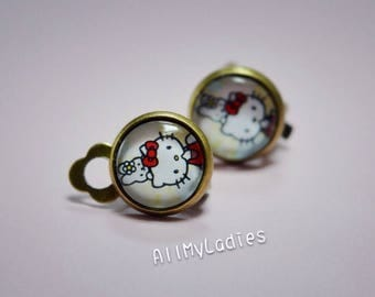 CAT and rabbit glass cabochon clip earrings