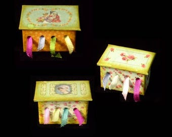 Miniature Ribbon Box OOAK - Romantic Themes  - 1/12 scale