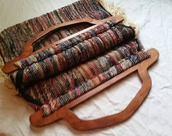 Vintage Carpet Bag, Bohemian Style with Fringe and Wooden Handles