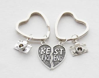 Best friend keychains Camera Keychains Best friend giftsPhotographer Gifts friendship keychain set bff gift keychain