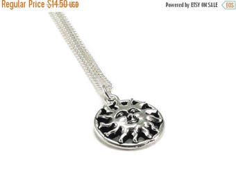 SALE Sun Necklace Sterling Silver Plated Chain