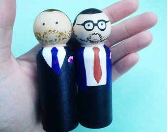 Gay wedding cake topper couple- hand painted personalised wooden peg dolls for groom and groom