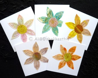 Handmade Colourful Flowers Blank greeting cards, Note Cards, Thank You, Birthdays or Hello set of 5