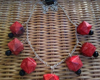 Red and Black Geometric Beaded Necklace