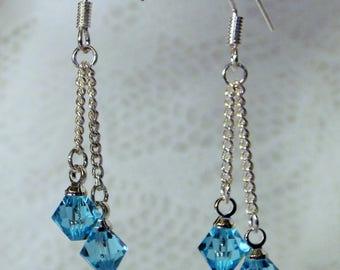 """Cynthia Lynn """"CELEBRATE"""" Sterling Silver Swarovski Aquamarine Blue Crystal March Birthstone Drop Earrings"""