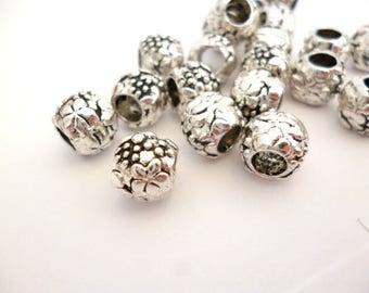 Solid Silver Tone Metal Beads_NAC650008/6654_Silver Plated Metal beads of 8x9 mm hole 4 mm pack 20 pcs
