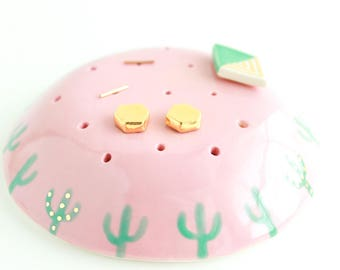 Ceramic Earring Organizer, Cactus Earring Holder, Gift for Plant Lovers, Gold Earring Stand, Stud Earring Holder, Dresser Jewelry Organizer