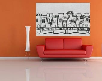 Fine Art abstract black and white City painting large art acrylic painting modern decor office living room dinning room hand made minimalist