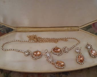 Vintage Clear Rhinestone & Peach Necklace and Earrings Set