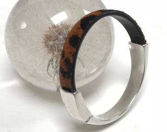 Leopard Print Pony Hair Leather Bracelet Antique Silver Half Cuff, Hair On Leather, Black and Brown, Leather Bracelet, Leather Bangle
