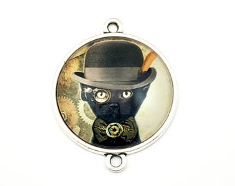 1 steampunk gentleman cat glass connector bronze tone,30mm # CON 331