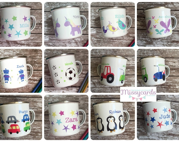 Featured listing image: Personalised childrens enamel mugs