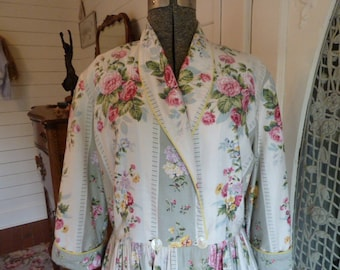 Vintage 40's 50's  Floral and Striped Cotton House Dress Wrap Style Large