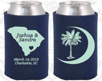 Palmetto Tree, Wedding Party Gifts, Crescent Moon, South Carolina Palmetto, Palmetto Moon, SC Palmetto Tree, Cheap Wedding Can Coolers (75)