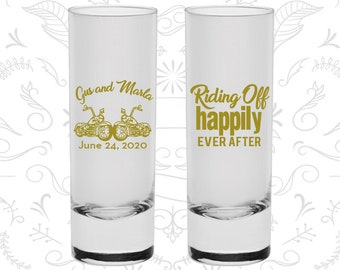 Riding off Happily Ever After Shooters, Customized Shooter Glasses, Motorcycles, Heart, Custom Shooters (93)