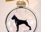 Boxer, Ornament, Gifts for Dog Lovers, Cropped Ears
