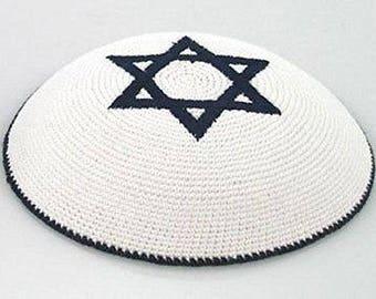 White Knitted Jewish Kippah with Dark Blue Star of Magen David