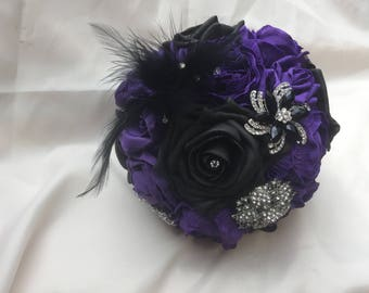 Purple Black Foam Rose Peony Brooch Bouquet Bridal Wedding Bouquet Lace Feathers Diamantes