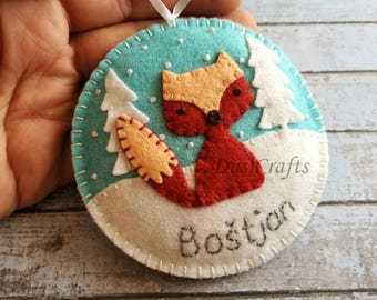 PRE ORDER / Personalized Fox ornament, Wool felt Fox ornaments with Embroidered Name, Personalised Boys ornament Personalized Christmas gift
