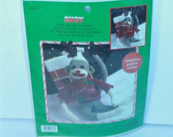 "Leisure Arts 21"" Sock Monkey Kit 46266 Rudy with Adoption Papers Sealed Made in the USA!"