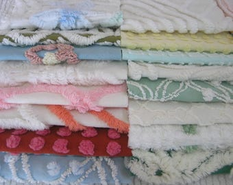 """18 Vintage Chenille Bedspread Fabric Squares 6.5"""" Stash Supply"""