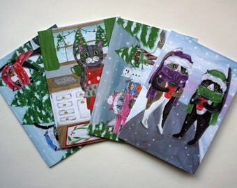 Cats with Coffee Holiday Cards Set of 4, Cat Christmas Cards, Christmas Cards, Cat Christmas Card Pack by Amber Maki