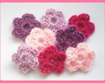 Lot 8 flowers applique crochet purple/pink 2.5 cm wool